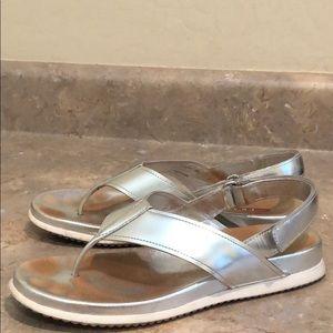PRADA Metallic Velcro Slingback Sandals